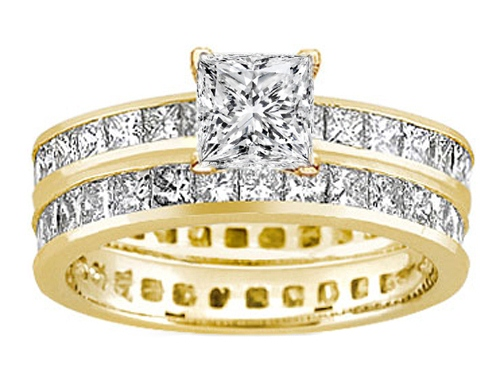 Princess Diamond Eternity Engagement Ring & matching wedding band Bridal Set 6.29 tcw. 14K Yellow Gold