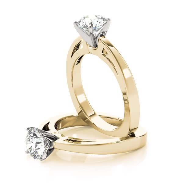 Classic Cathedral Solitaire Engagement Ring Yellow Gold with Square Band