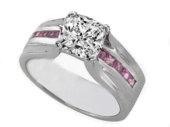 Cushion Diamond Bridge Engagement Ring with Pink Sapphire 0.90 tcw. In 14K White Gold