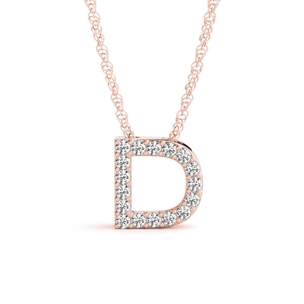Diamond Letter D Pendant Rose Gold