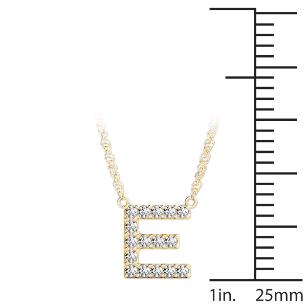 Diamond Initial E Pendant Yellow Gold