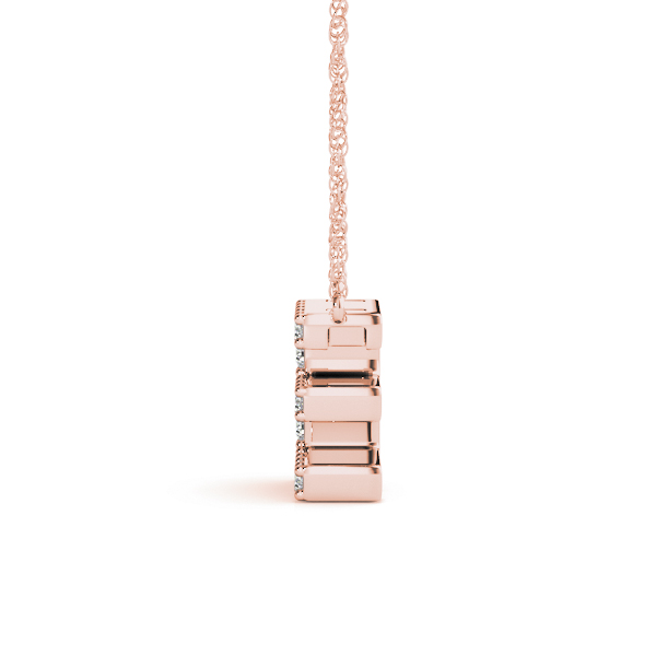 Diamond Letter E Pendant Rose Gold