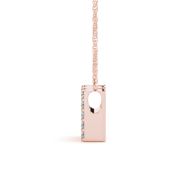 Diamond Letter H Pendant Rose Gold