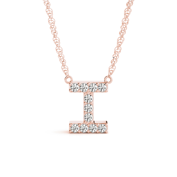 Diamond Letter I Pendant Rose Gold