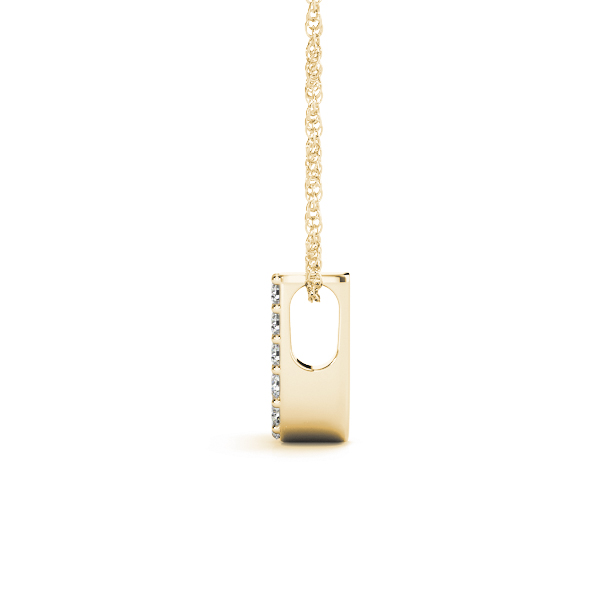Diamond Initial J Pendant Yellow Gold