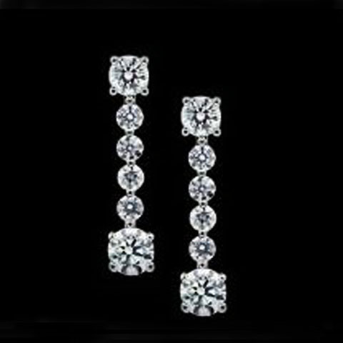 Diamond Stiletto Line Dangle Drop Earrings 0.80 tcw.
