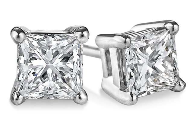 One Of A Kind Princess Cut Diamond Stud Earrings 1.41 tcw. G SI in 14 Karat White Gold