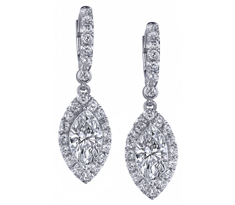 Marquise Diamonds Dangling Halo Earrings