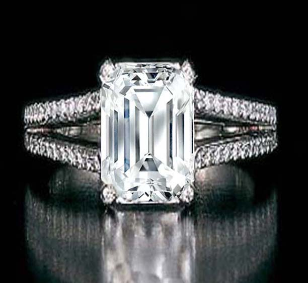 Emerald Cut Diamond Split Band Engagement Ring Setting Beyonce's Choice In 14K white gold