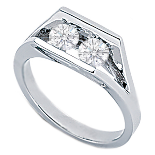 Duo Round Diamond Ring 0.50 Carat tw. In 14k White Gold