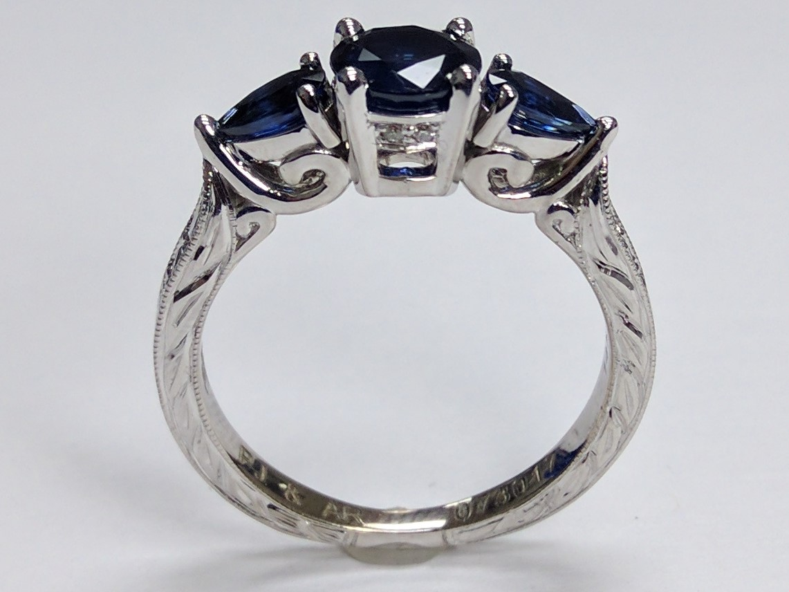 Three Stone Blue Sapphire Anniversary Ring, Hand Engraved White Gold Band