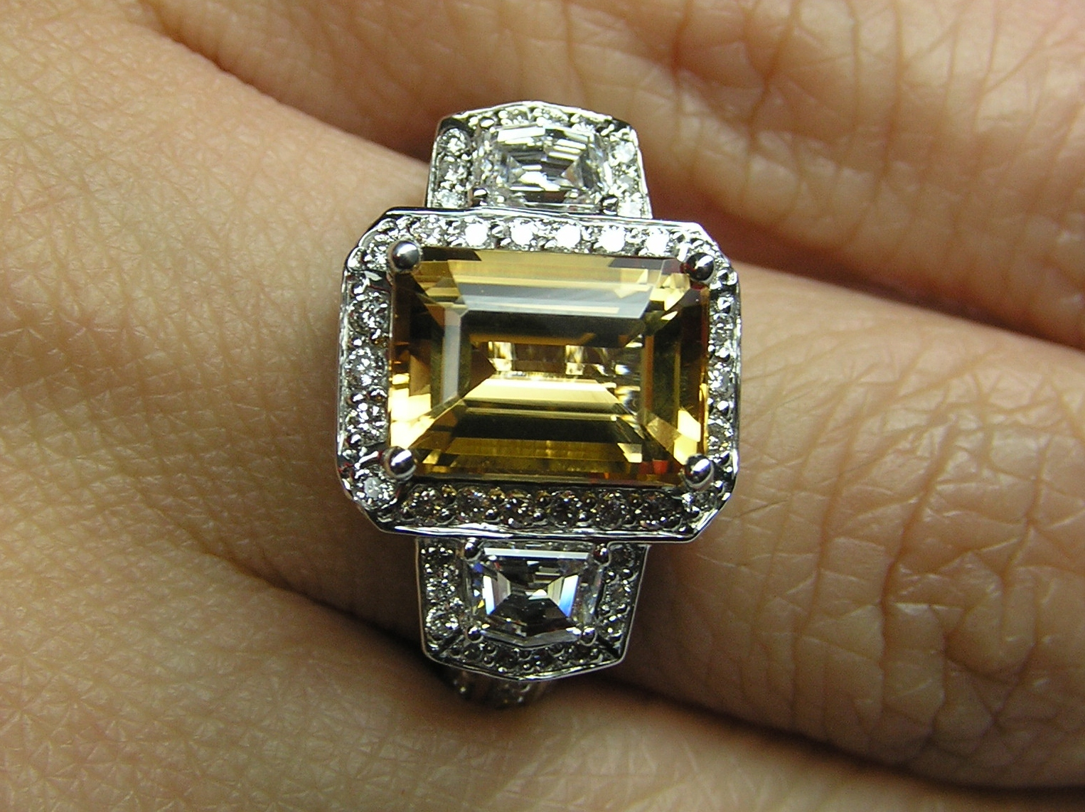 Emerald Cut Citrine Topaz Vintage Design Halo Ring with trapezoids side stones