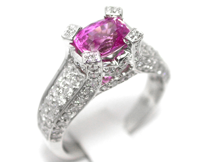 Cushion Pink Sapphire vintage Diamond Ring