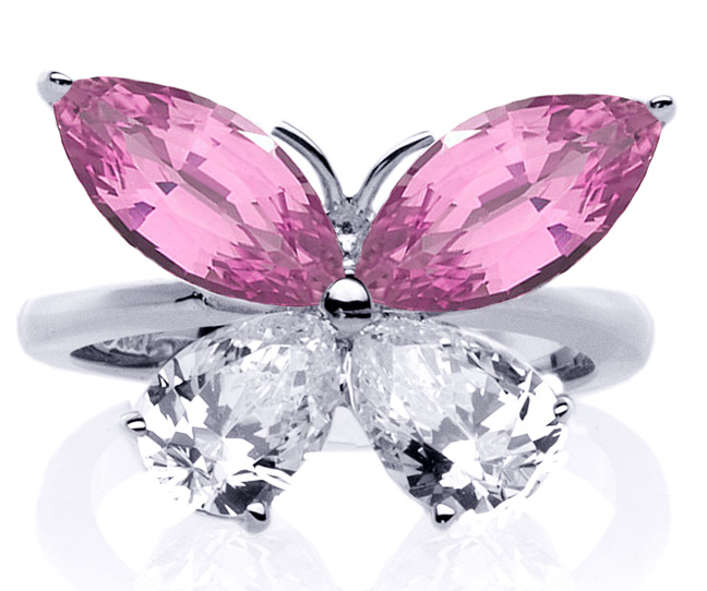Mixed Cut Butterfly Diamond & Pink Sapphire Ring 1 Carat TW. In 14K White Gold