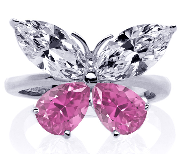 Mixed Cut Butterfly Diamond & Pink Sapphire Butterfly Ring