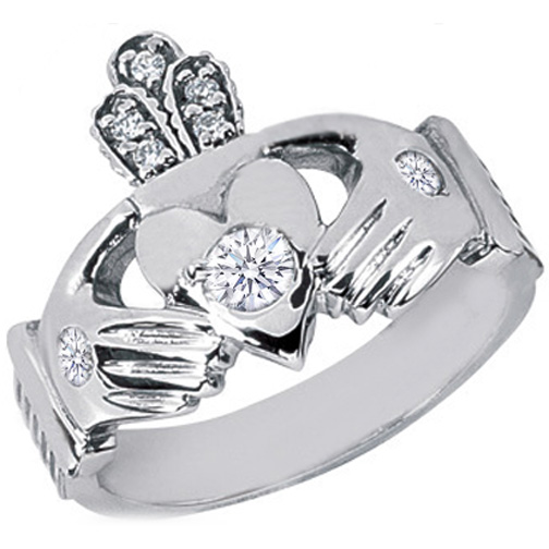 14 Karat White Gold Claddagh Round Diamond Ring