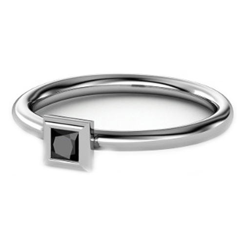 Petite Bezel Set Black Princess Diamond Stackable Ring
