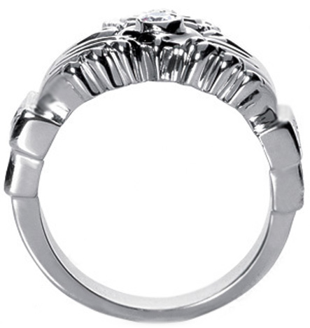 Claddagh Round and Baguette Men's Diamond Ring 1.19 Carat Weight in 14 Karat White Gold