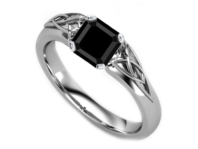 Black Square Diamond Triquetra Celtic Engagement Ring in 14K White Gold
