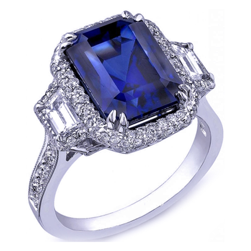 Blue Sapphire Emerald Cut Ring Trapezoids Diamonds Side Stones in 14K White Gold
