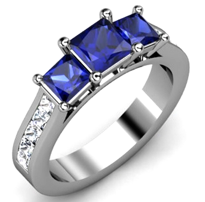 Three Stone Princess Blue Sapphire Diamond Band in 14k White Gold