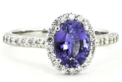 Oval Blue Sapphire Halo Pave Accents Ring in 14K White Gold