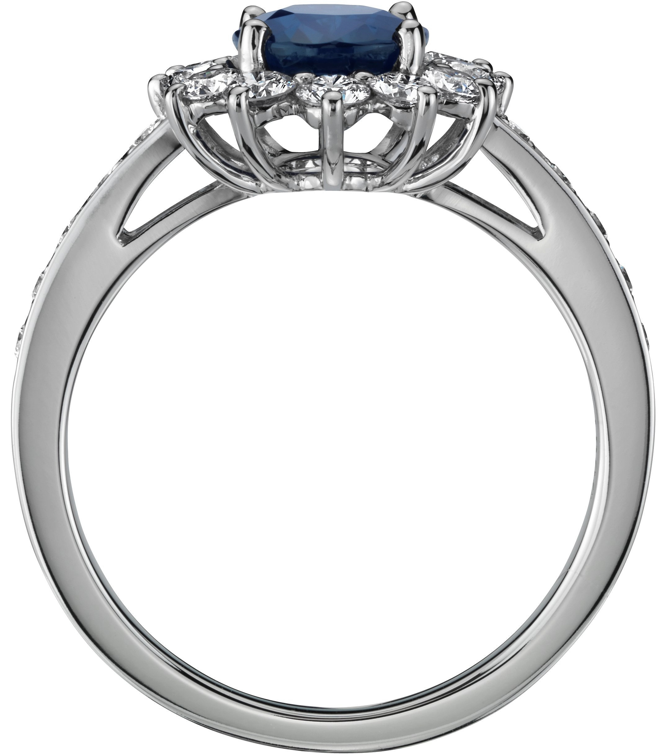 Oval Blue  Sapphire Ring Diamond Halo in 14K White gold