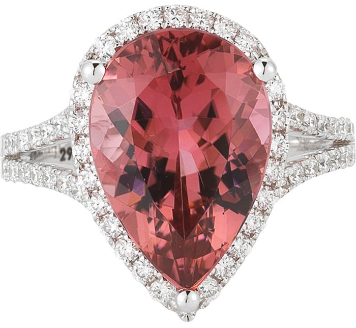 Pear Shape Pink Tourmaline & Diamond Ring 14kt White Gold