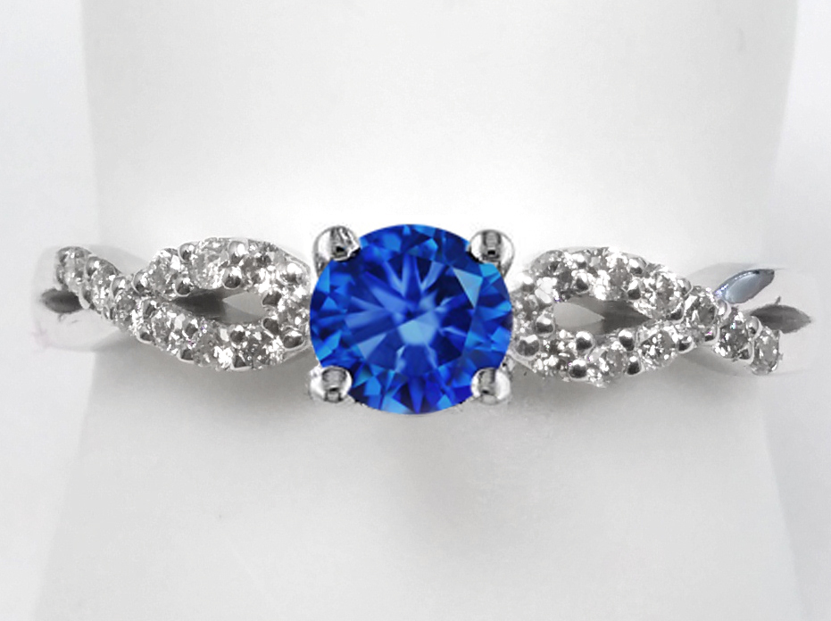 Blue Sapphire infinity Diamond Ring in 14K white Gold