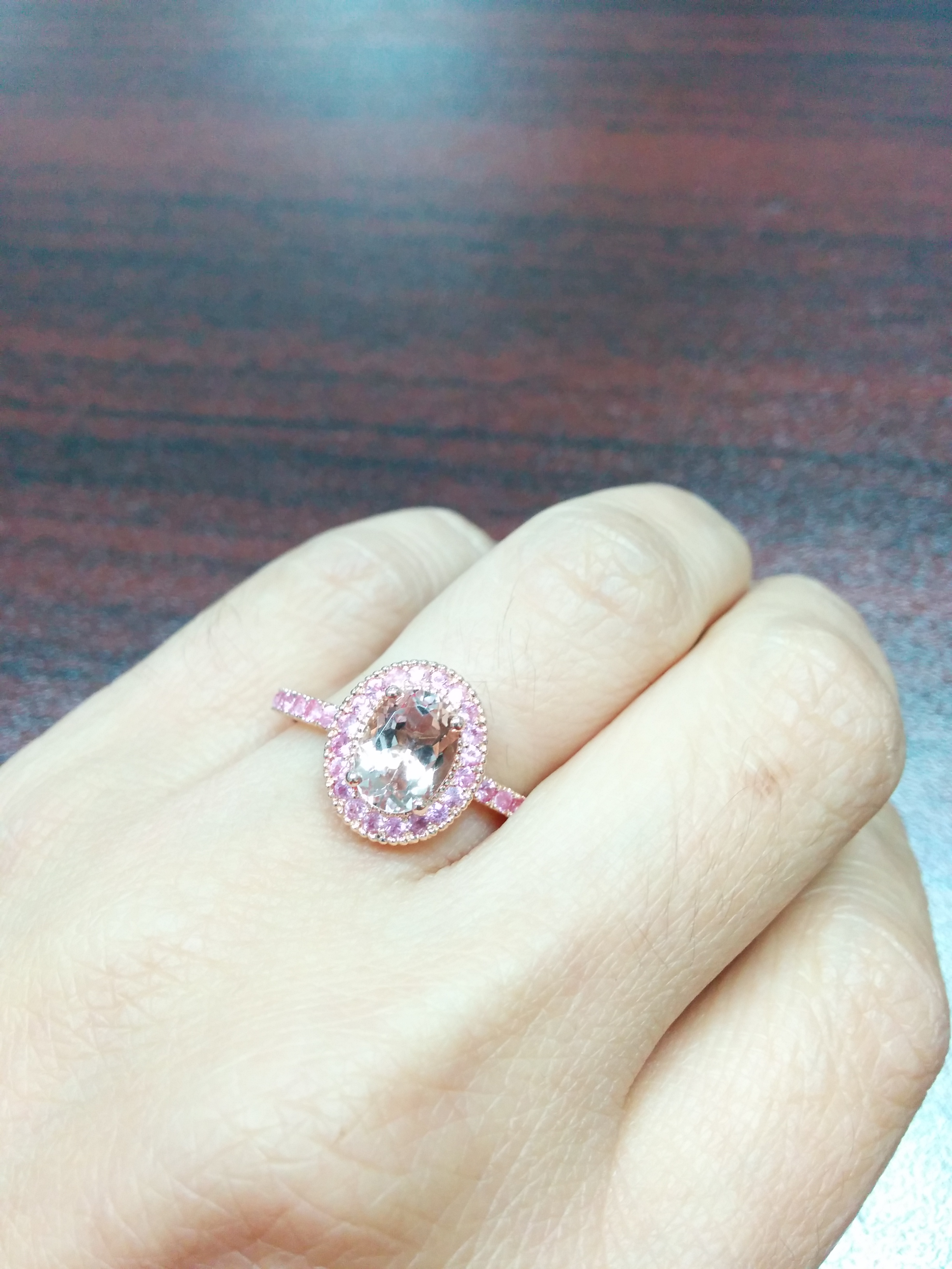 Oval Morganite Pink Sapphire Halo 14K Rose Gold Ring