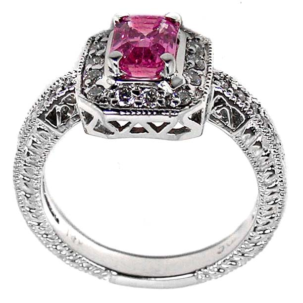 Emerald cut Pink Sapphire Pave Engagement-Promise Ring with Round Diamonds 0.43 tcw. In 14K white gold
