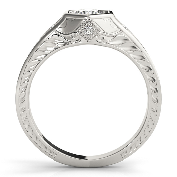 Hexagon Engraved Round Diamond Ring