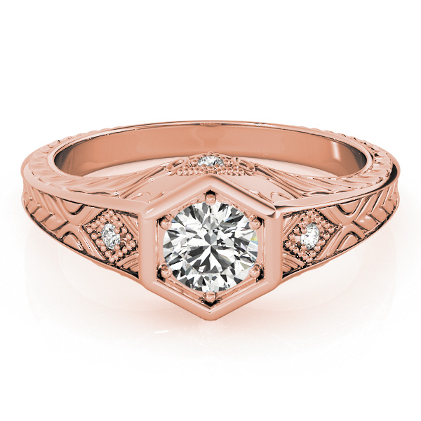 Hexagon Engraved Round Diamond Ring in Rose Gold