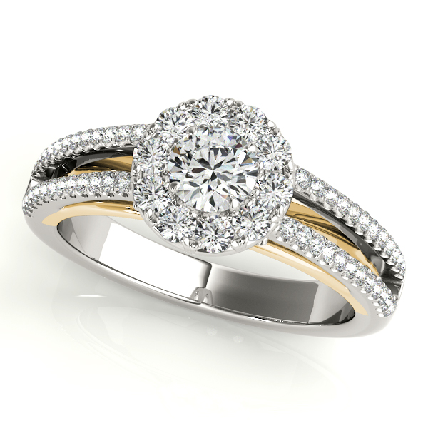 Split Band Halo Ring and Matching Band with Yellow Gold