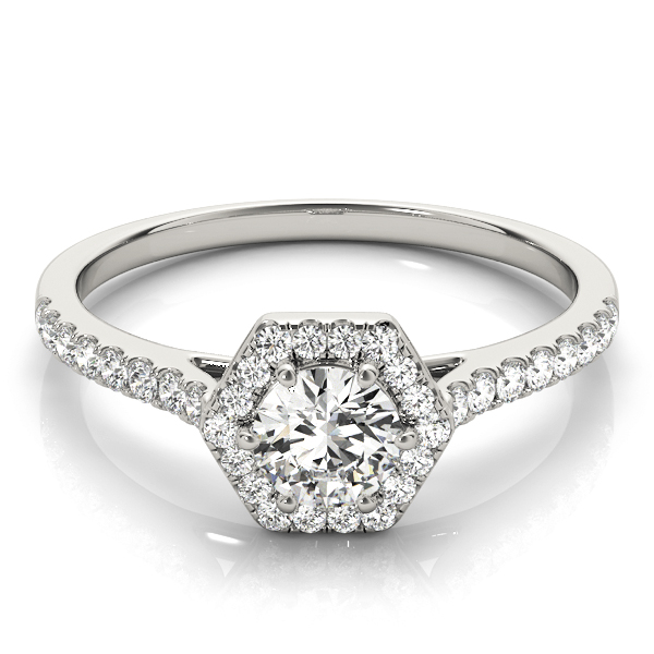 Hexagon Halo Round Diamond Filigree Ring