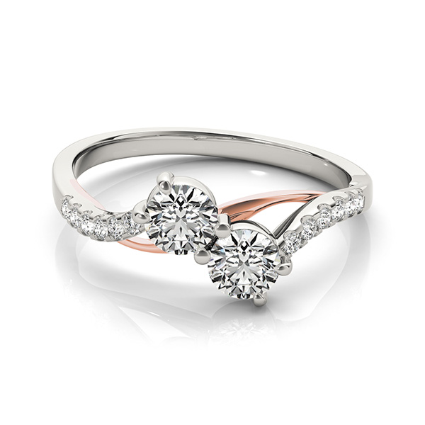 Two-Tone Duo Diamond Swirl Ring with Pave Accents 0.62 tcw.