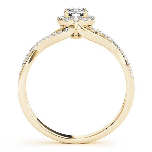 Infinity Swirl Halo Diamond Engagement Ring in Yellow Gold