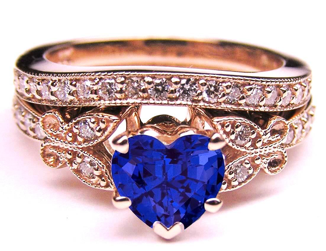 Blue Sapphire Heart Shape Diamond Butterfly Bridal Set In 14K Pink Gold ...
