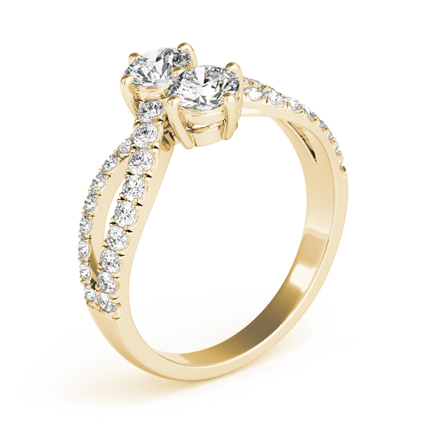 Duo Diamond Split Band Promise Ring In Yellow Gold 0.86 Carat