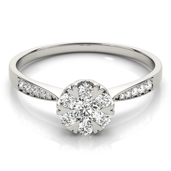 Round Diamond Cluster Halo Ring with Heart Prongs