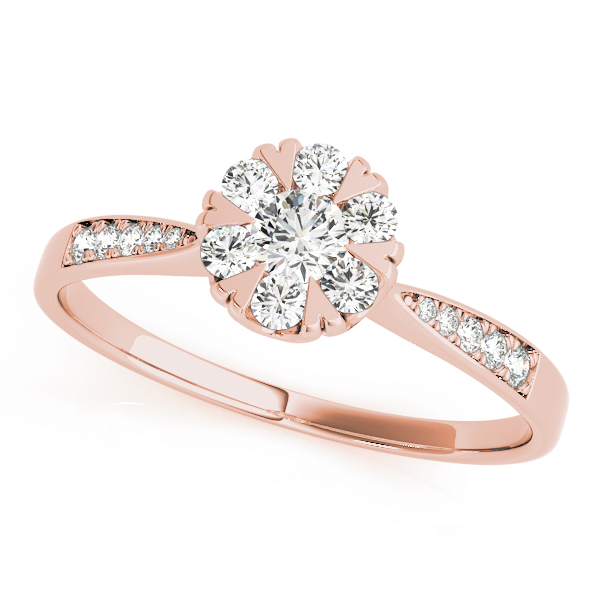Diamond Cluster Halo Ring with Heart Prongs in Rose Gold