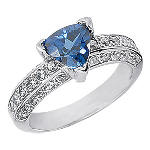 Trillion Blue Sapphire and Round Diamond European Style Engagement Ring