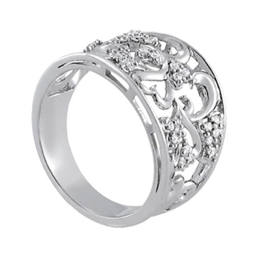 Wide Filigree & Pave Diamond Ring