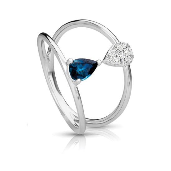 Kissing Pear Shape Sapphire & Diamond Ring