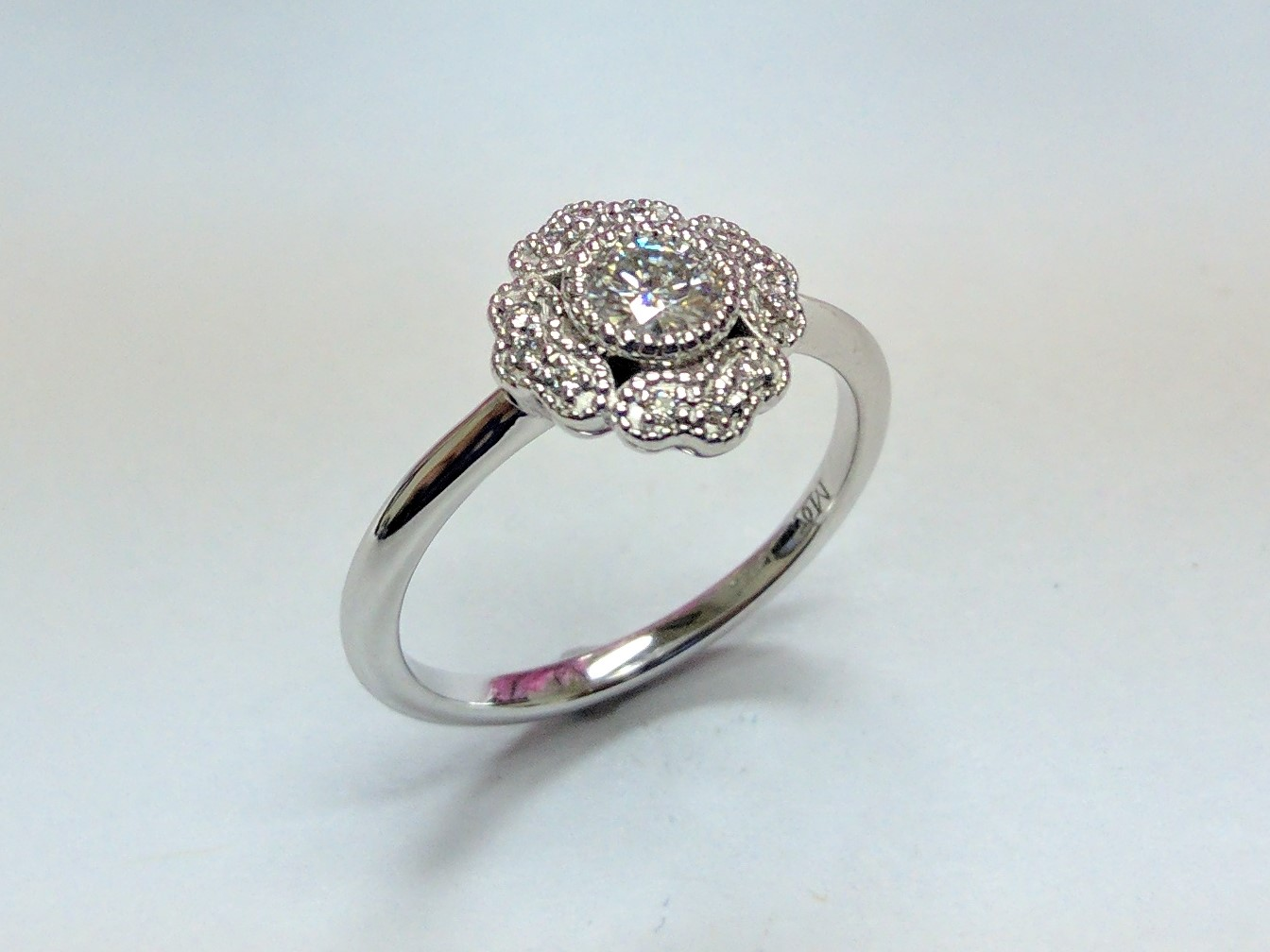 Floral Halo Petite Diamond Ring
