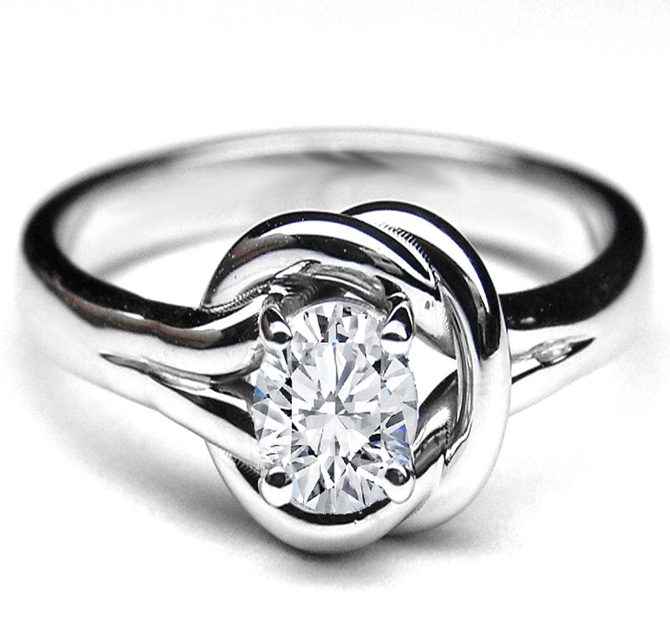 Love Knot Solitaire Oval Diamond Engagement Ring 0.25 Carat