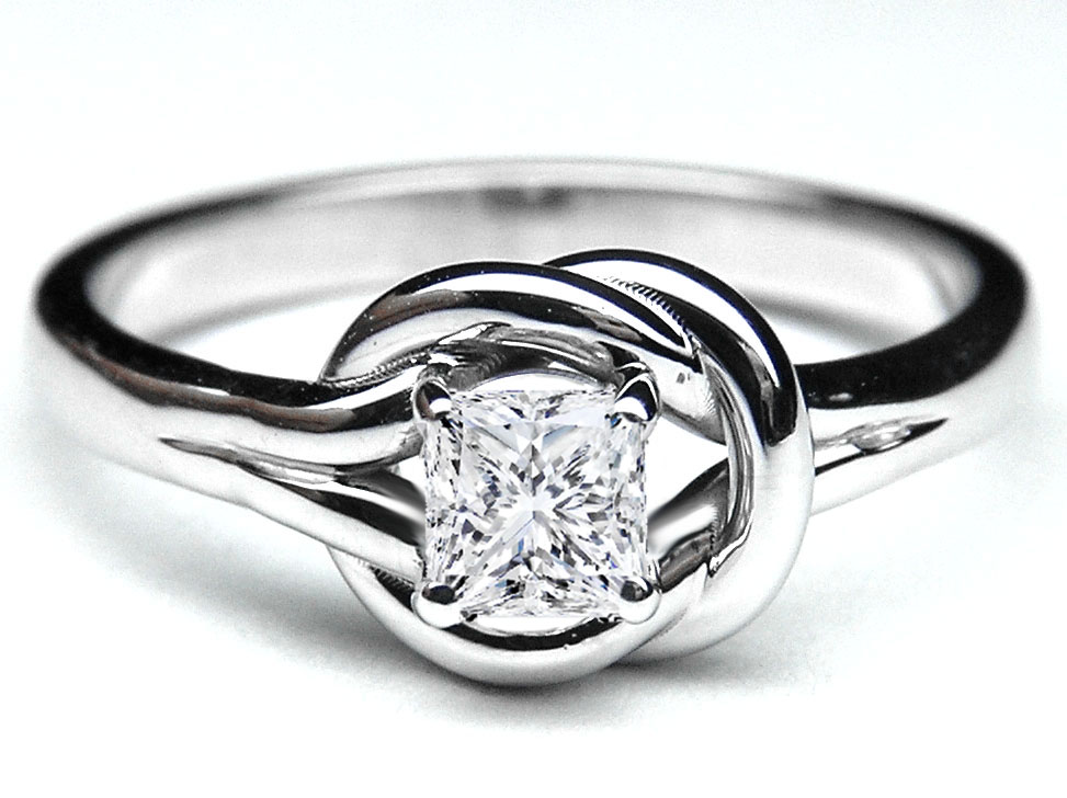 Love Knot Solitaire Princess Diamond Engagement Ring 0.25 Carat