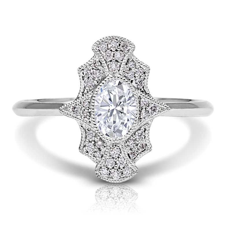Oval Halo Diamond Petite Ring