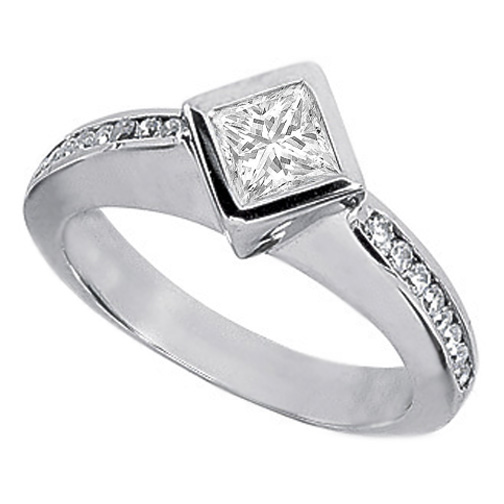 Diagonal Princess Diamond Engagement Ring 0.74 TCW