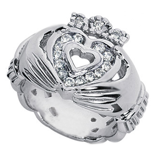 Claddagh Engagement Ring round Diamond Accents  in 14 Karat White Gold